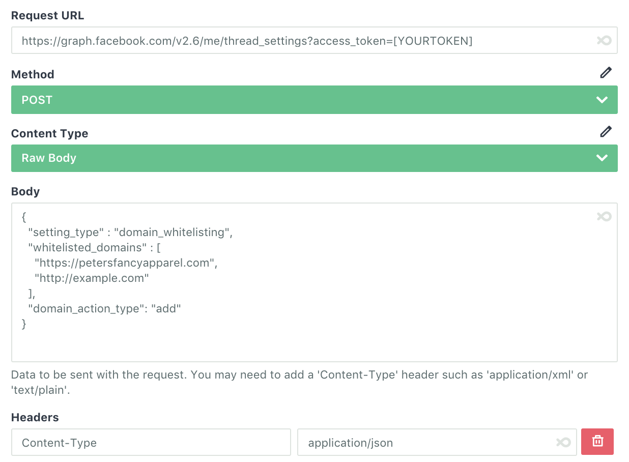 Whitelisting Domains for Facebook Send API - Announcements