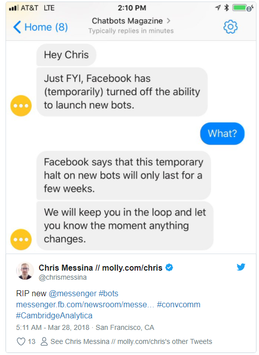 Facebook have paused the creation of new bots - Announcements - Flow