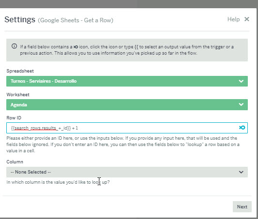 Get next row ID in Google Spreadsheet - Questions - Flow XO